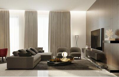 ЗD-визуализация дизайна интерьера квартиры в ЖК Садовые Кварталы в стиле современный минимализм | Фото №2-1