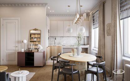 Дизайн двухкомнатной квартиры в ЖК Сердце Столицы в смешанном стиле | Фото №6