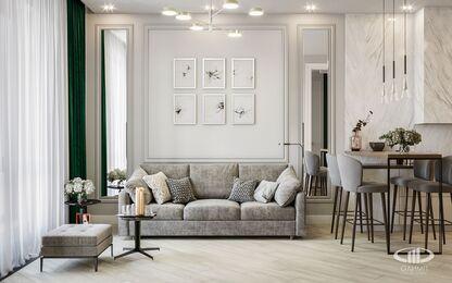 Дизайн интерьера квартиры в ЖК Балчуг Вьюпоинт в стиле современная классика | Фото №4