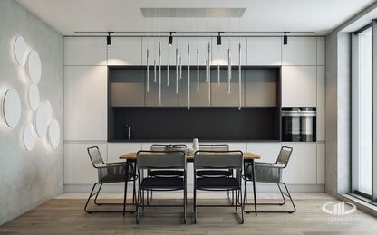 Интерьер трехкомнатной квартиры в современном стиле в ЖК Мосфильмовский | 3d-визуализация №4