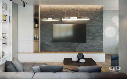 Интерьер трехкомнатной квартиры в современном стиле в ЖК Мосфильмовский | 3d-визуализация №5