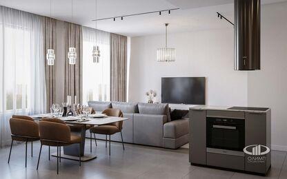Дизайн интерьера евродвушки в ЖК Царская площадь | Кухня-гостиная 17,7 кв.м. | Фото №2