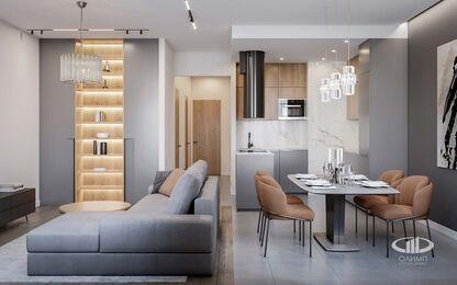 Дизайн интерьера евродвушки в ЖК Царская площадь | Кухня-гостиная 17,7 кв.м. | Фото №3