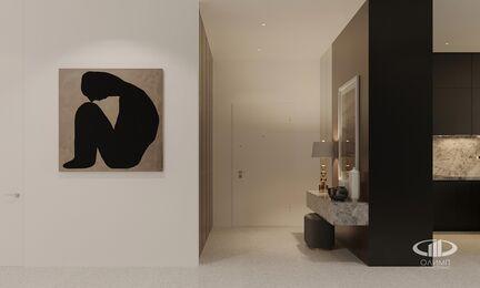 ЗD-визуализация дизайна интерьера квартиры в ЖК Садовые Кварталы в стиле современный минимализм | Фото №9
