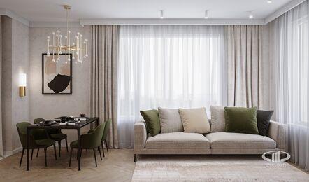 Современный интерьер квартиры в ЖК Достояние фото №4 | Кухня-гостиная