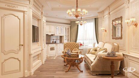 Дизайн интерьера квартиры в классическом стиле | Визуализация №1